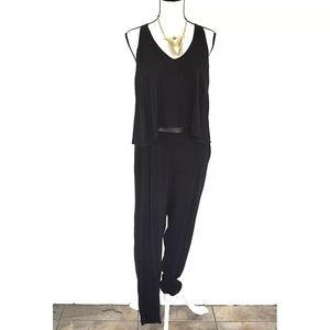 Ella Moss Sleeeveless Tiered Jumpsuit Black Sz L